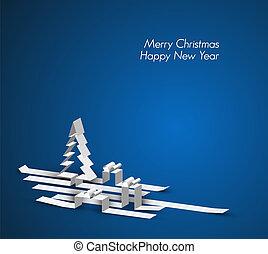 gemaakt, strepen, papier, zalige kerst, kaart