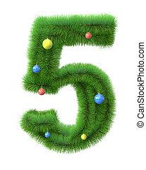 gemaakt, takken, boompje, nummer 5, kerstmis