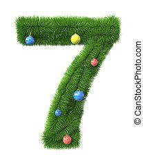 gemaakt, takken, boompje, nummer 7, kerstmis