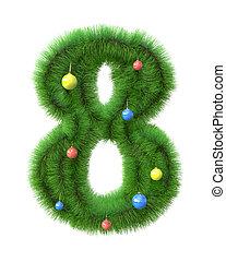 gemaakt, takken, boompje, nummer 8, kerstmis