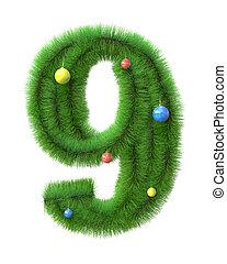 gemaakt, takken, boompje, nummer 9, kerstmis