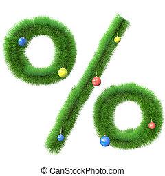 gemaakt, takken, boompje, symbool, procent, kerstmis