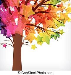 gemaakt, takken, kleurrijke, abstract, boompje, stars., achtergrond