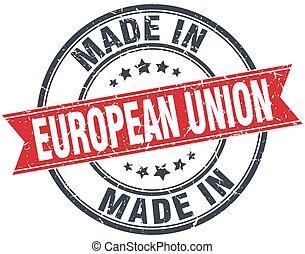 gemaakt, unie, ouderwetse , postzegel, ronde, rood, europeaan