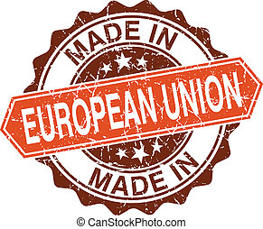 gemaakt, unie, ouderwetse , vrijstaand, postzegel, achtergrond, witte , europeaan