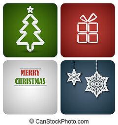 gemaakt, versiering, papier, witte kerst, kaart