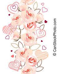 gemaakt, verticaal, model, seamless, rozen, hartjes