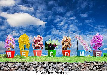 gemaakt, woord, welkom, hemel, vrijstaand, jardiniere, achtergrond, bloemen, orchidee