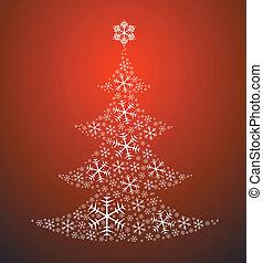 gemacht, baum, weihnachten, schneeflocken
