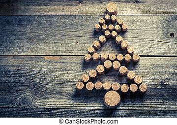 Gemacht, Baum, Weihnachten, Wein, Kork