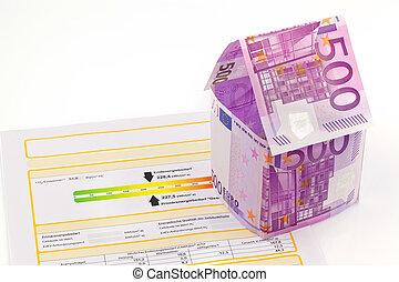 gemacht, bescheinigung, haus, energie, banknoten, leistung, euro