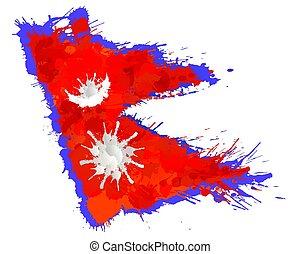 gemacht, bunte, föderativ, nepal kennzeichen, republik,...