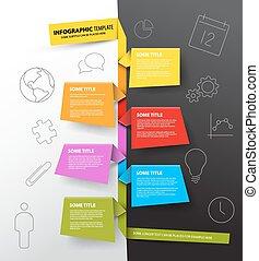 gemacht, bunte, timeline, infographic, schablone, papiere, bericht