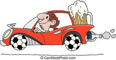 gemacht, fahren, auto, tragen, kugeln, bier, abbildung, glas, hinten, vektor, große räder, fußball, karikatur, mann