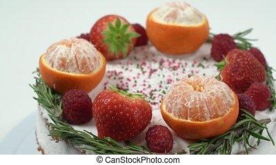gemacht, festlicher, weihnachten, close-up., kuchen, früchte, jahreswechsel