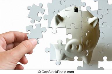 gemacht, finanz, puzzel, -, spaardose, wirtschaft