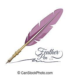 gemacht, gefieder, schreiben kugelschreiber, gerät, feder, ...