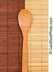 gemacht, matten, hölzern, zwei, löffel, bambus