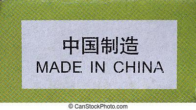 gemacht, porzellan, etikett