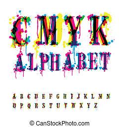 gemakkelijk, anders, brieven, streaks., afwerpen, bewerken, bevat, drie, cmyk, malen, vermalen, unrecognized, alphabet., lagen, druppels, samenstelling, colors.