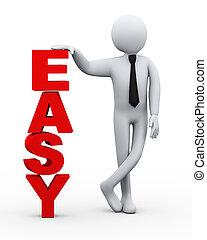 gemakkelijk, presentatie, woord, zakenman, 3d