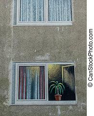 gemalener balcony on a house wall