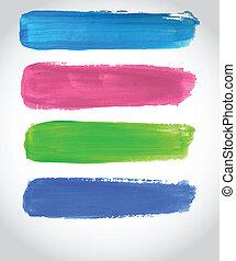 gemalt, abbildung, mehrfarbig, banners., hell, vektor, design, dein
