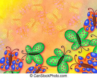 gemalt, aquarell, papillon, papier, umrandungen