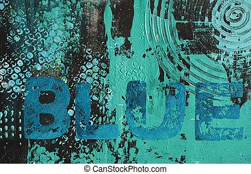 gemalt, blauer hintergrund