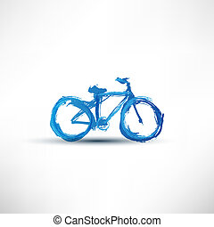 gemalt, fahrrad, bürste