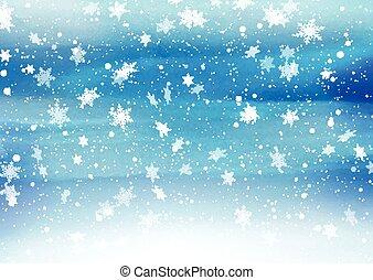 gemalt, fallender , 2811, schneeflocken, hintergrund