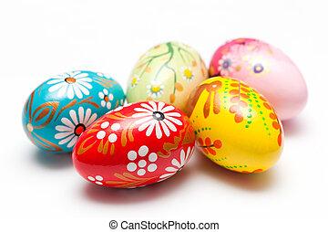 gemalt, fruehjahr, eier, hand, muster, white., ostern, kunst, unique.