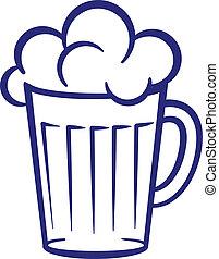 gemalt, glas, bier