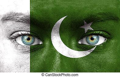 gemalt, pakistan markierungsfahne, menschliches gesicht
