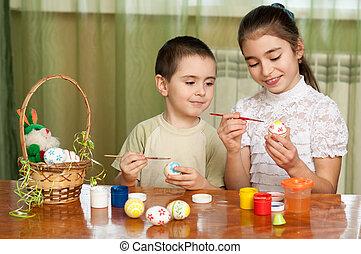 gemalt, Schwester, Ostern, Eier, Bruder