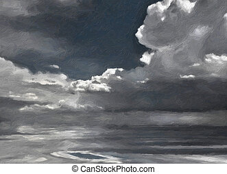 gemalt, wolkengebilde