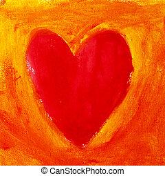 Herz - gemaltes Herz auf gelbrotem Grund