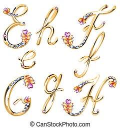 gemas, cartas, coloreado, alfabeto, e, bronce