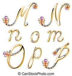 gemas, cartas, coloreado, alfabeto, m, bronce