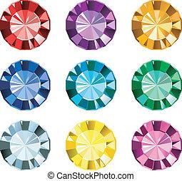 gemas, coloreado