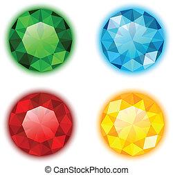 gemas, cuatro, conjunto, colorido