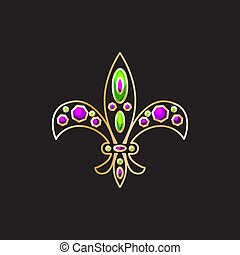 gemas, decoración, flor de lis, oro, real, vector., contorno