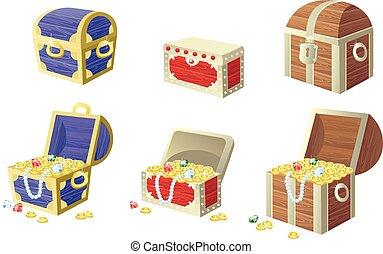 gemas, lleno, oro, tesoro, ilustración, pecho, vector, coins