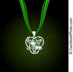 gemas, verde, joyas, colgante