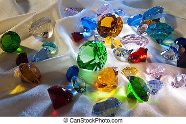 gemas, vidrio, colección