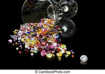 Gemas, vidrio, diamante, vino