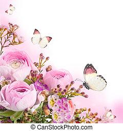 gematigd, bouquetten, van, rooskleurige rozen, en, vlinder