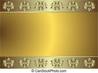 gematigd, gouden achtergrond, (vector), zilverachtig