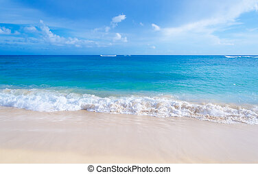 gematigd, strand, hawaii, zanderig, golven
