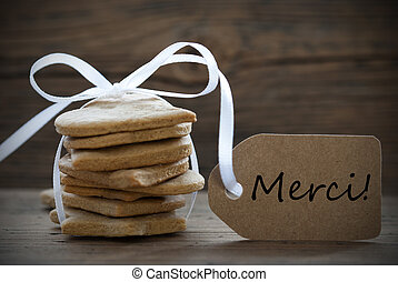 gember, brood, koekjes, met, merci, etiket
